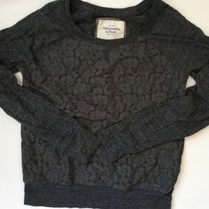 Abercrombie and Fitch gray lace sweatshirt s